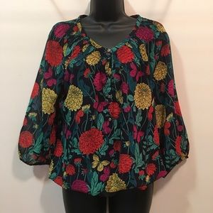EUC Banana Republic butterfly and floral blouse S
